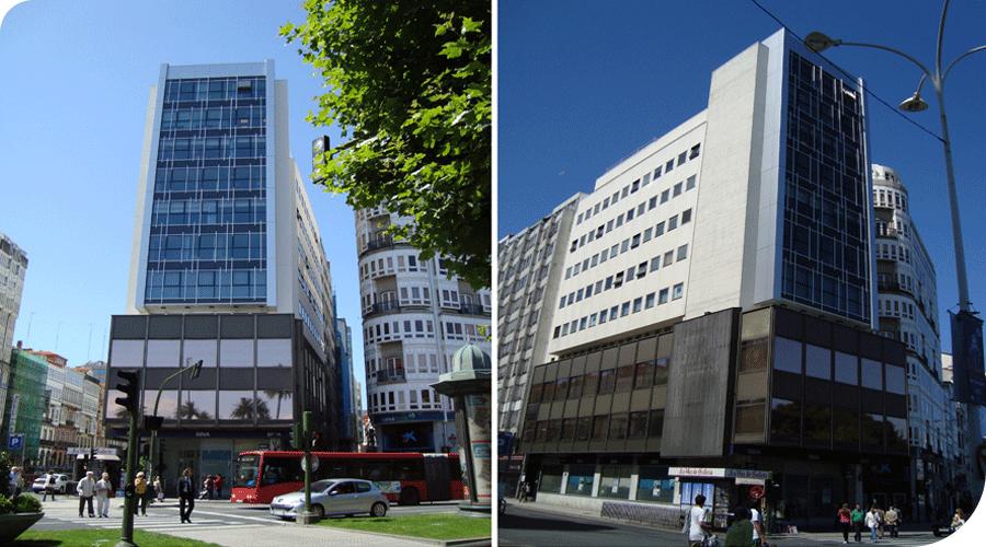 Banco Exterior de España en A Coruña, edificio de nueva planta. 1967